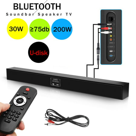 bluetoot h Sound Bar With 8 speakers Wireless and Wired Audio Home Theater Soundbar 2.0 Channel Wall Mountable Remote Control 30W Speaker for TV/PC/Phones/Gaming Machine