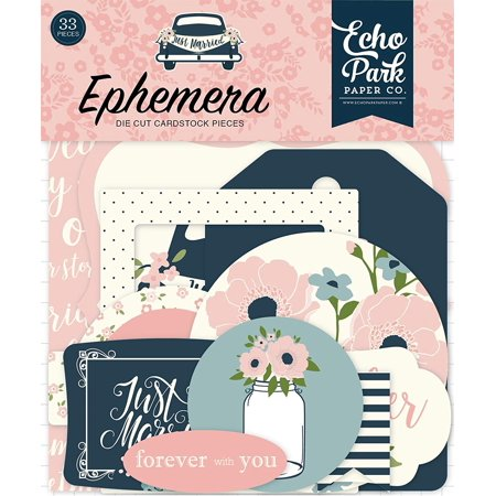 JM153024 Just Married Ephemera, Navy, Pink, Coral, Cream, Teal, Gold, Ephemera includes 33 shapes. By Echo Park PaperWalmartpany