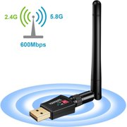 Wireless USB wifi Adapter, Amerteer 600Mbps 2.4GHz/5GHz Dual Band WIFI Adapter 802.11AC Wireless Network w/ Antenna for Computer PC Laptop Win XP/7/8/10,MAC