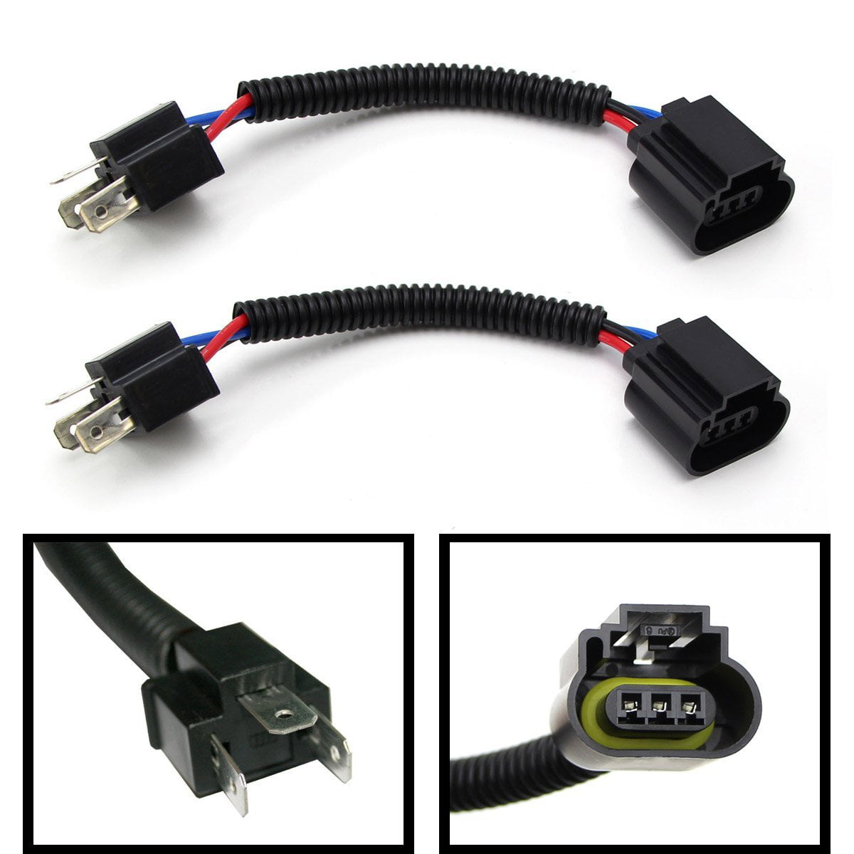 (2) ijdmtoy h4 9003 to h13 9008 pigtail wire wiring harness adapters for h4 h13 headlight conversion retrofit walmart com Harness Wiring 21119339