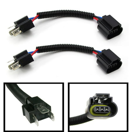 (2) iJDMTOY H4 9003 To H13 9008 Pigtail Wire Wiring Harness Adapters on