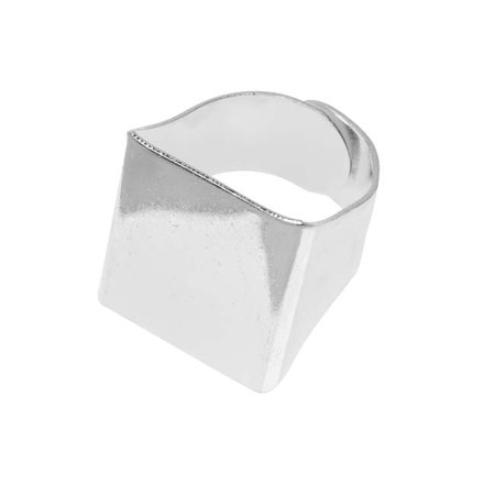 Silver Tone Brass Square Glue-On Collage Adjustable Ring 20mm (1) (The One Ring)