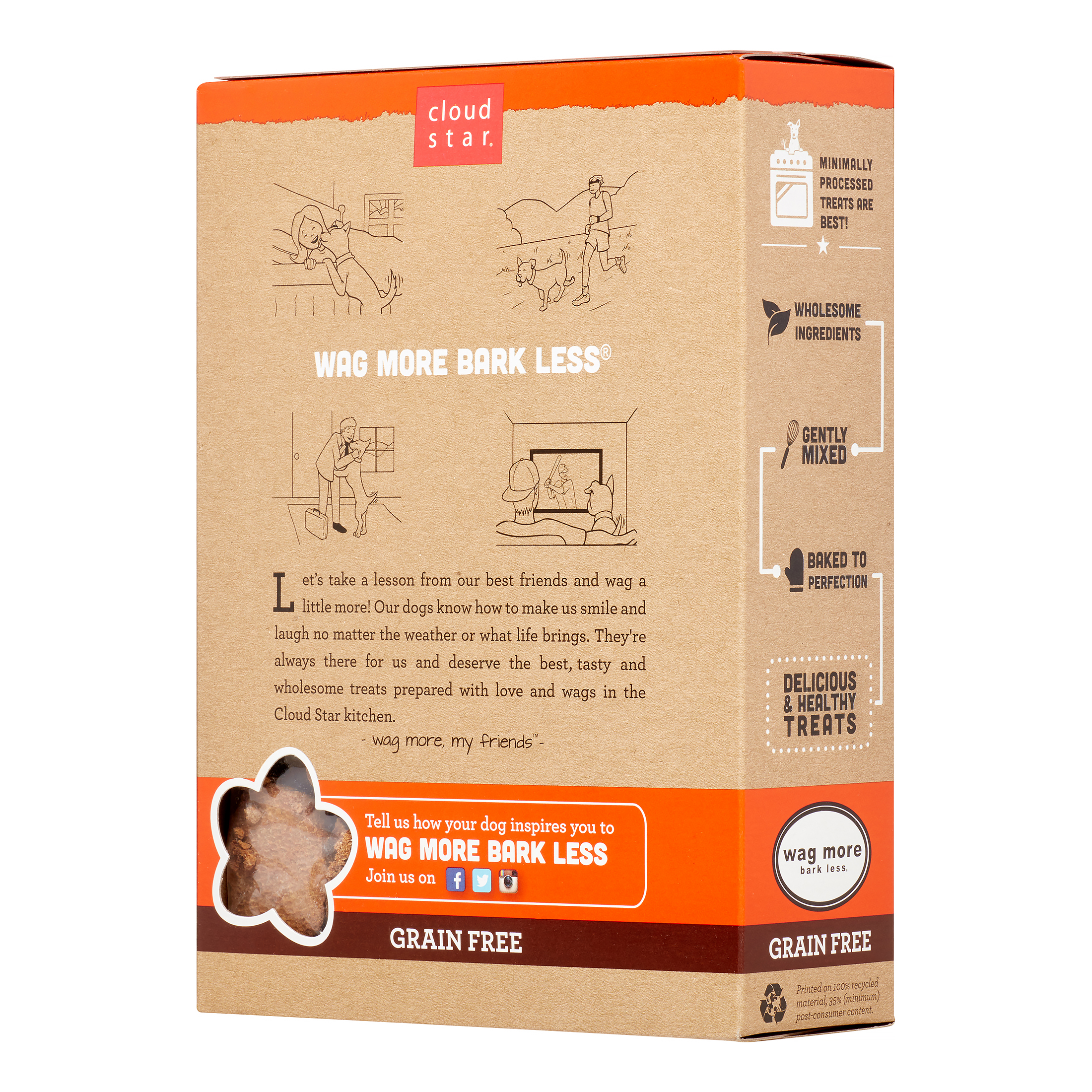 Cloud Star Wag More Bark Less Oven Baked Biscuits Grain-Free Peanut Butter & Apples Dry Dog Treat, 14 oz