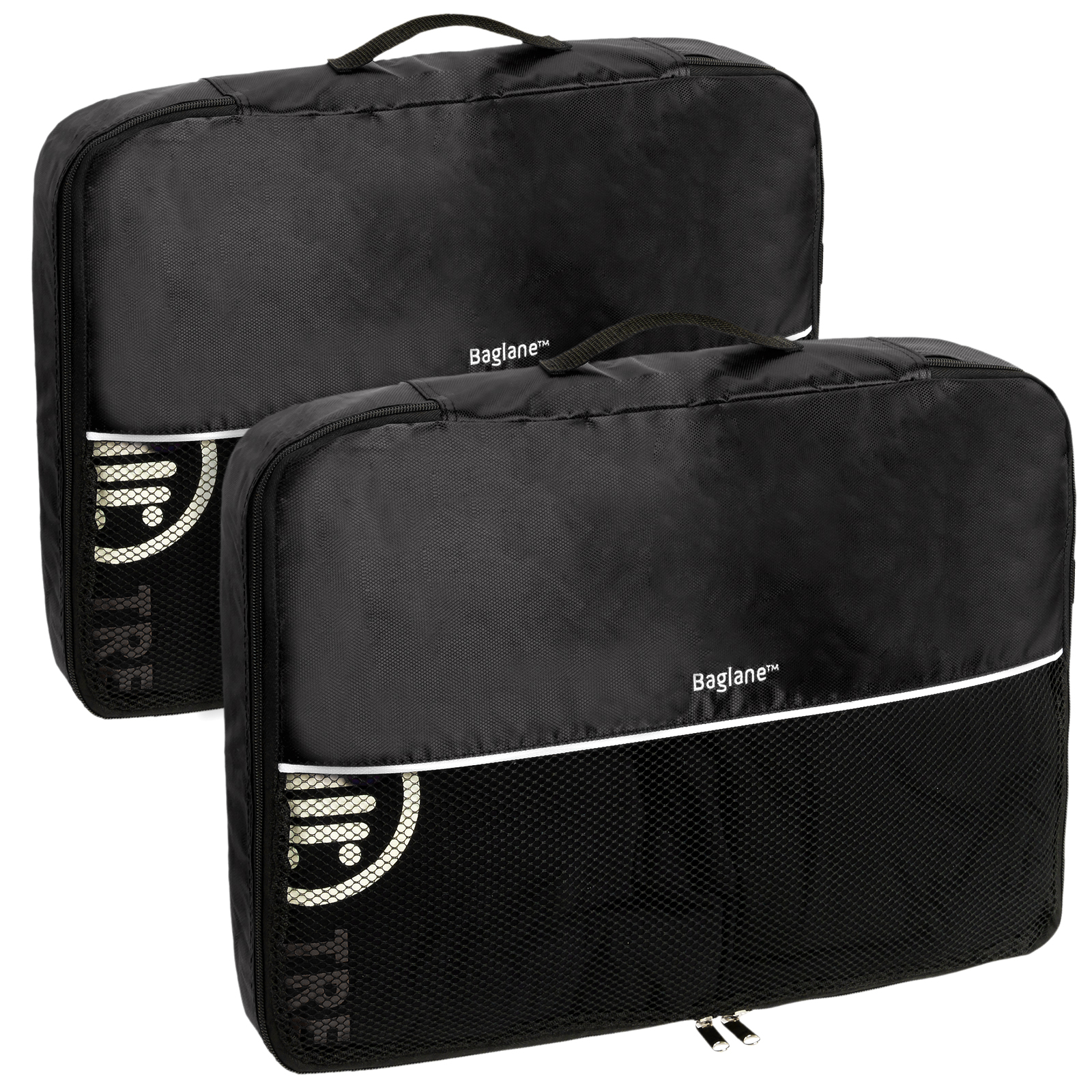 Baglane Black TechLife Nylon Luggage Travel Packing Cube Bags -2pc Set (Large)