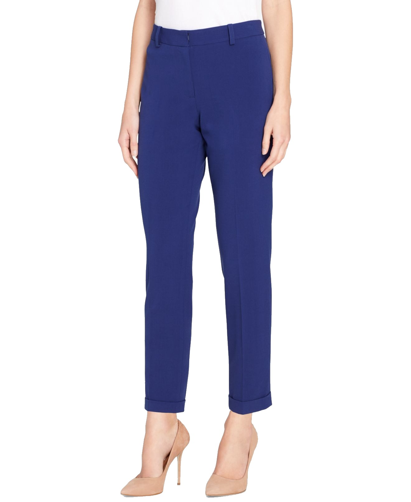 Blue Womens Ankle Flat-Front Dress Pants $89 12