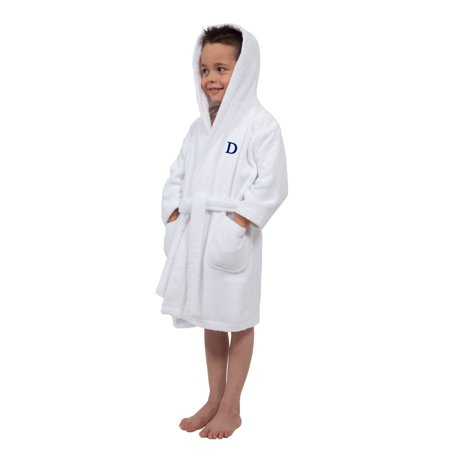Authentic Hotel and Spa Sweet Kids Turkish Cotton Terry White with Royal Blue Monogram Hooded Bathrobe ()