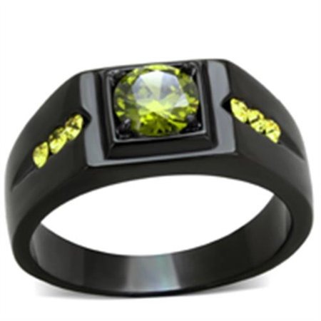 Men's 1 Ct Olivine Green Cubic Zirconia Stainless Steel Black Ion Plated Ring Size (Light Stainless Steel Face Ring)