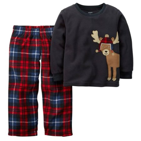 59f84955b Carters - Carters Boys Black   Red Plaid Fleece Sleepwear Reindeer ...