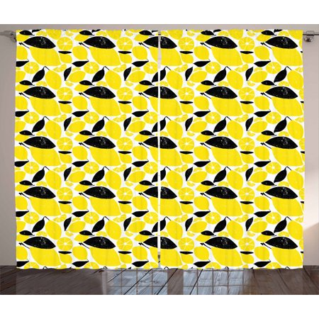Lemons Curtains 2 Panels Set, Summer Breeze Sketched Yellow Lemon Figures and Skinless Half Slices, Window Drapes for Living Room Bedroom, 108W X 90L Inches, Black White and Yellow, by Ambesonne Summer Breeze Set