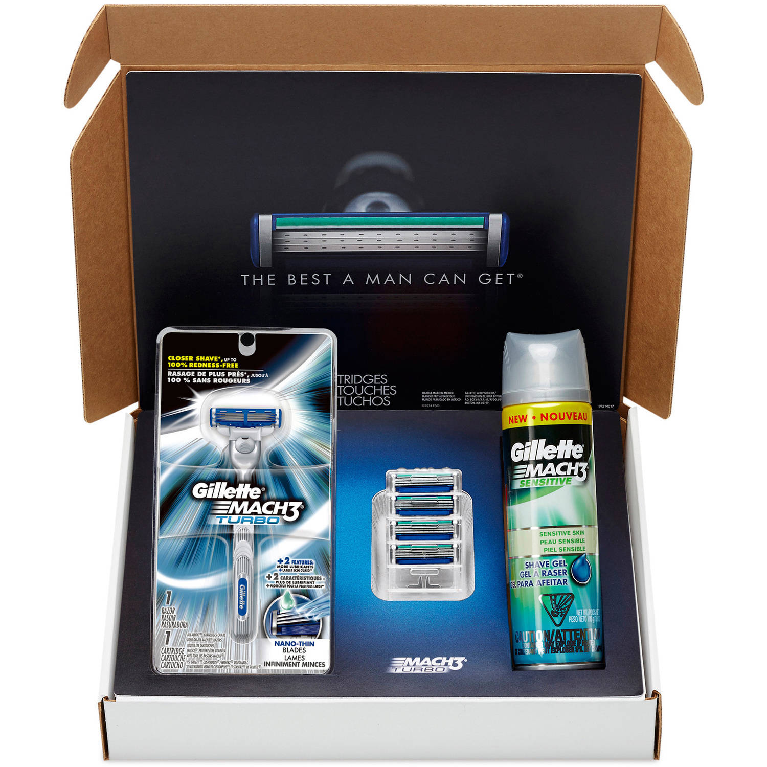 Gillette MACH3 Turbo Bundle with Razor Blade Refills + MACH3 Turbo Handle  + MACH3 Sensitive Shave Gel Kit, 7 pc