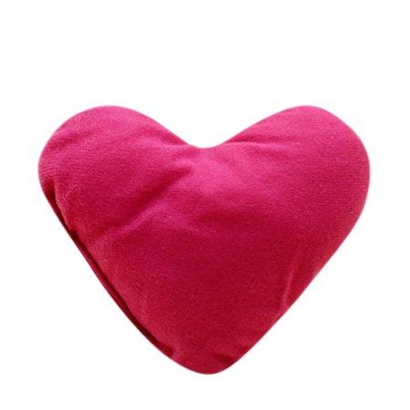 Heart Shaped Pillow - Pet Red Heart Shaped Cushion Soft Love Friend Gift Present Small Pillow