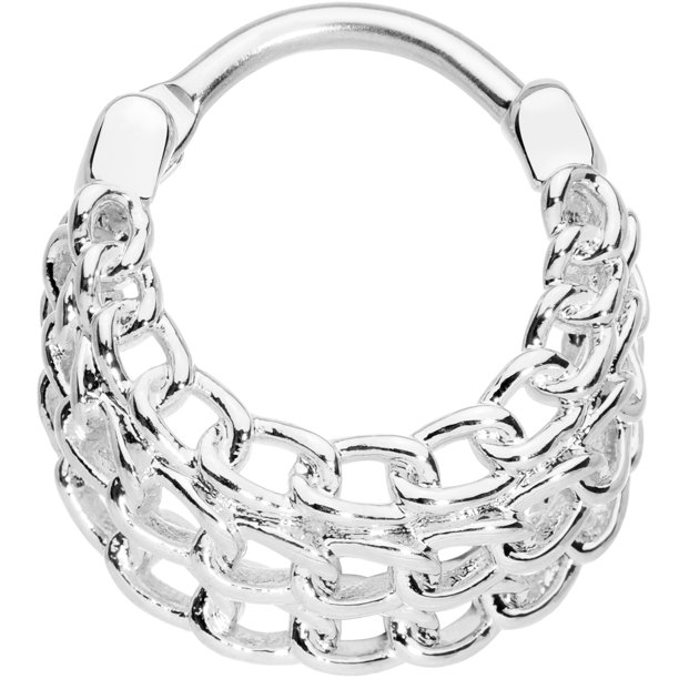 Body Candy Body Candy 16g 316l Steel Triple Chain Septum Hoop Nose Ring Hoop 10mm Cartilage Clicker Walmart Com Walmart Com