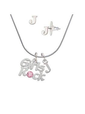 464d52a00 Product Image Girls Rock with Light Pink Crystal - J Initial Charm Necklace  and Stud Earrings Jewelry Set