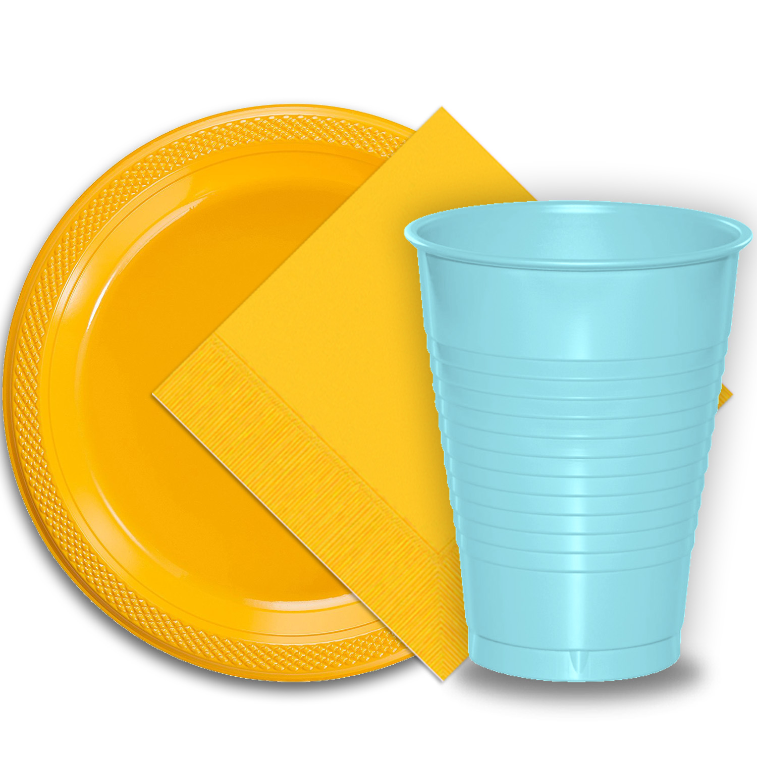 "50 Yellow Plastic Plates (9""), 50 Light Blue Plastic Cups (12 oz.), and 50 Yellow Paper Napkins, Dazzelling Colored Disposable Party Supplies Tableware Set for Fifty Guests."