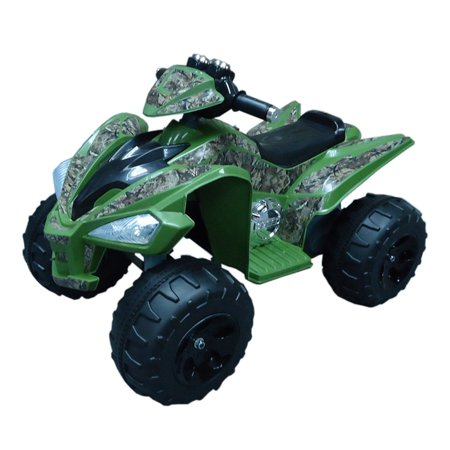 Riding Heel - True Timber 12-Volt Battery-Operated Camo Super Quad Ride-On, Green