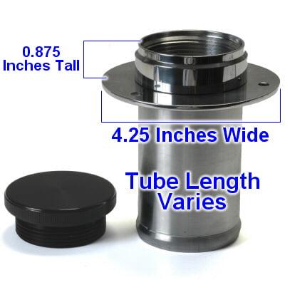 Straight Neck Aluminum Remote Fuel Filler With Billet Aluminum Cap For 3 Inch Hose