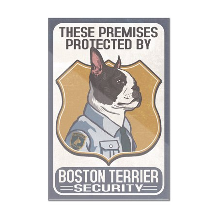 Boston Terrier Security - Dog Sign - Lantern Press Artwork (8x12 Acrylic Wall