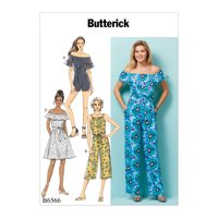 Butterick Pattern MISSES'/MISS PETITE DRESS, ROMPER, JUMPSUIT AND SASH-L-XL-XXL
