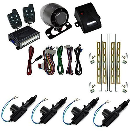 Complete Entry Set (Astra Scytek A20 Galaxy Series Complete Car Security Alarm System & Keyless Entry w/ 5-Button Remote with (4) Universal Power Door Locks 2 Wire Actuator Kit)