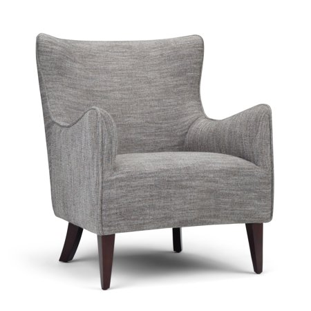 Brooklyn + Max Dorris 28 inch Wide Contemporary Modern Winged Back Accent Chair in Grey Tweed