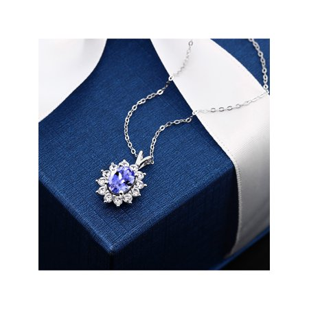 1.76 Ct Oval Blue Tanzanite 925 Sterling Silver Pendant - image 1 de 4