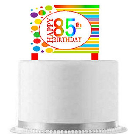 CakeSupplyShop Item#AE-086 Happy 85th Birthday Rainbow Elegant Cake Decoration Topper - 85th Birthday Ideas