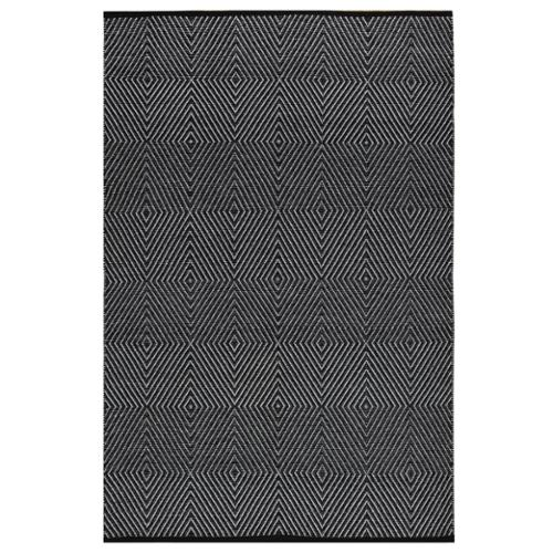 Fab Habitat Indo Hand-woven Zen Bright White/ Black Geometric Flat-weave Area Rug (4' x 6')