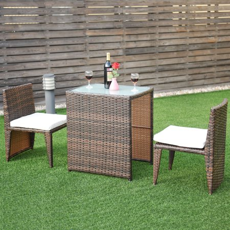 Costway Wicker 3-Piece Collapsable Outoor Bistro Set with Cushions ()