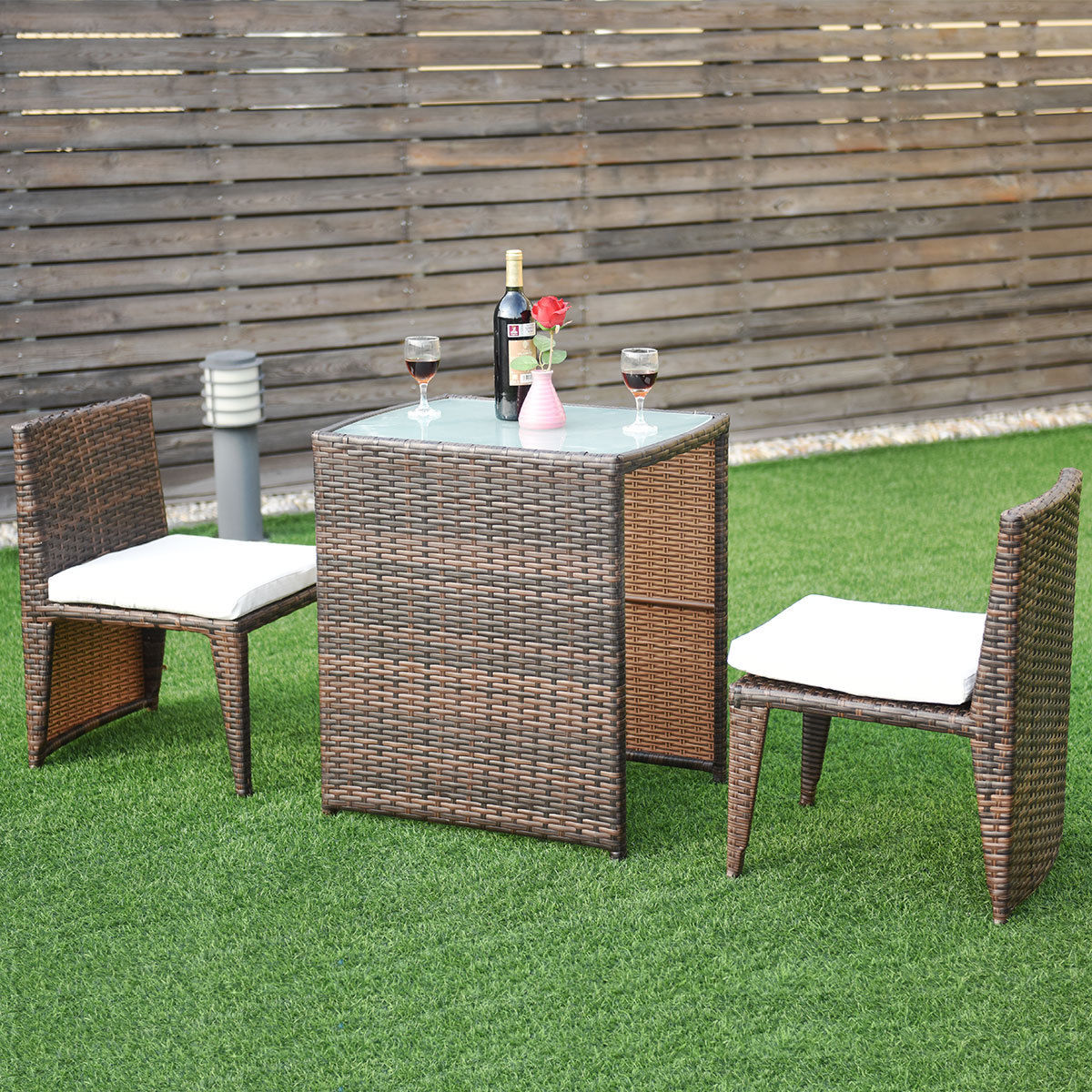 Costway Wicker 3-Piece Collapsable Outoor Bistro Set with Cushions