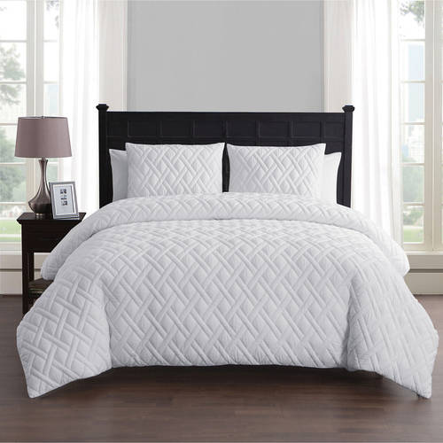 ***DISCONTINUED*** VCNY Home Lattice Embossed 2/3 Piece Bedding Duvet Cover Set with Shams, Multiple Colors and Sizes Available