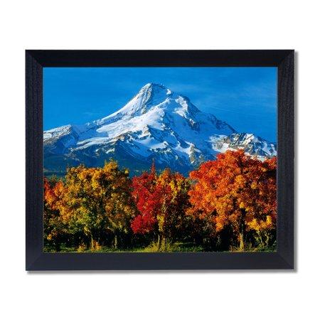 Lake Framed Picture (Mount Hood Lake Trees Fall Landscape Wall Picture Black Framed Art Print )