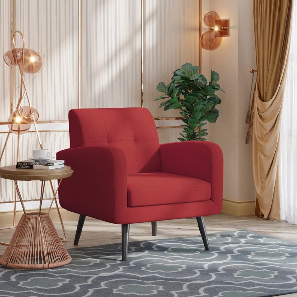 JustRoomy Mid-Century Modern Accent Chair Fabric Armchair Living