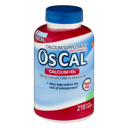 OsCal Calcium + Vitamin D3 Caplets, 500mg + 200 IU, 210 ct