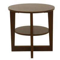 HomePop Round X-Base Wood Accent Table with Shelf Storage - Dark Walnut