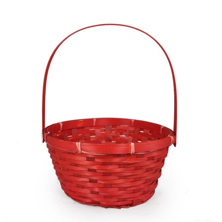(Red Weave Round Handle Bamboo Basket - Small 8in)