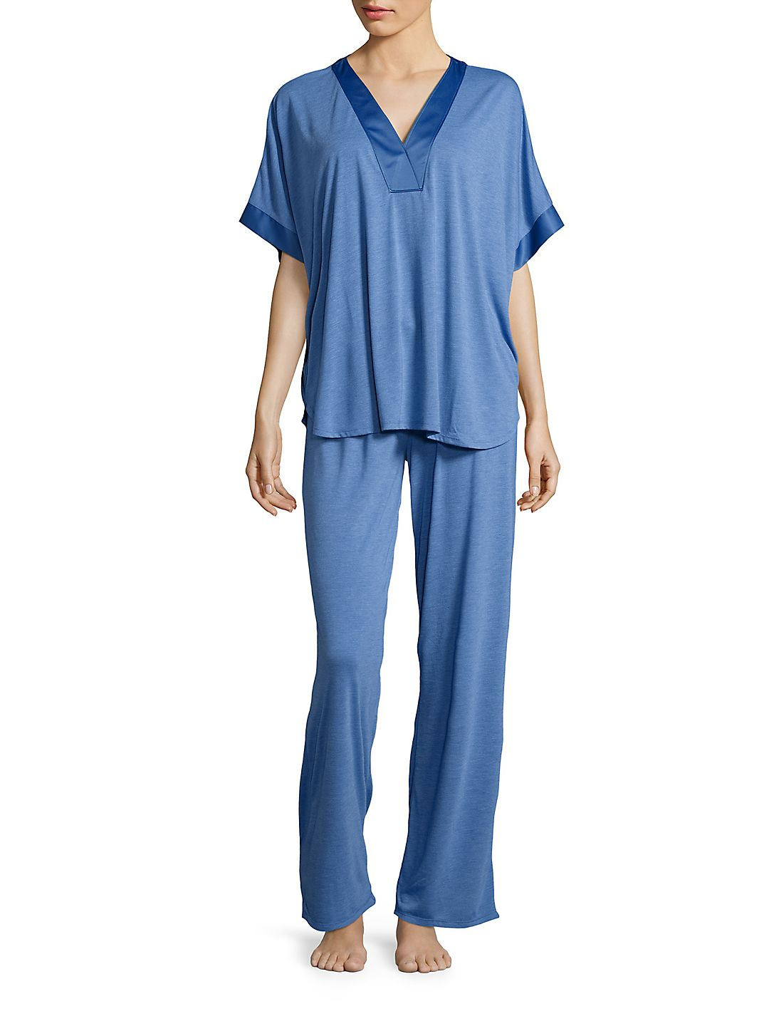 Satin-Trimmed Jersey Knit Pajamas