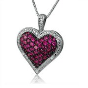 Amanda Rose Collection Created Ruby & Natural Diamond Puffed Heart Necklace in Sterling Silver on an 18 in. Chain
