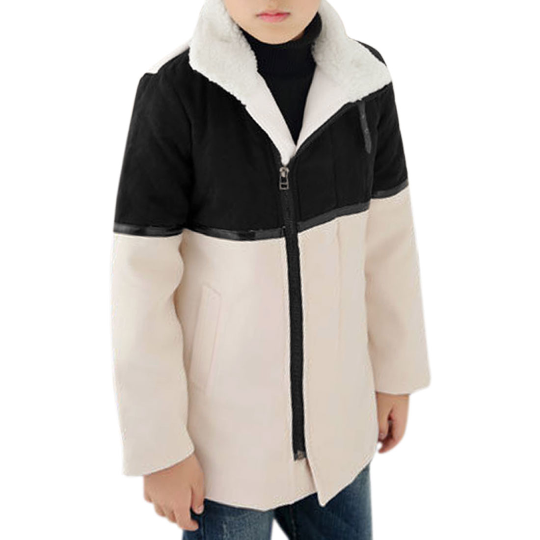 Boys Convertible Collar Zippered Fully Lined Casual Coat Allegra Kids Beige 20