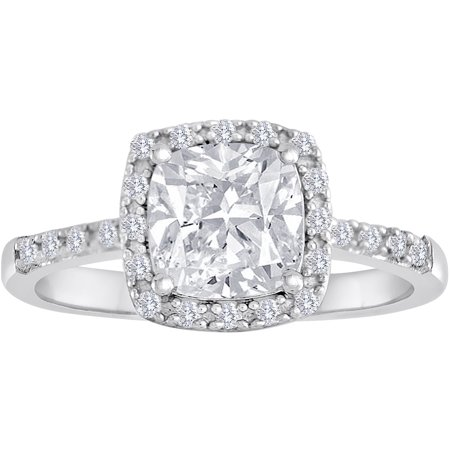 Sterling Silver Cz Cushion Halo Engagement Ring