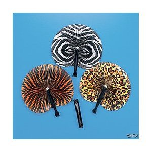 12 Wild Animal Print Paper Fans, These folding fans are ideal for a safari or jungle party! By Fun Express