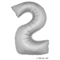 """Number 2 Two Super Shape Solid Jumbo Helium Quality 40"""" Foil Balloon, Silver"""
