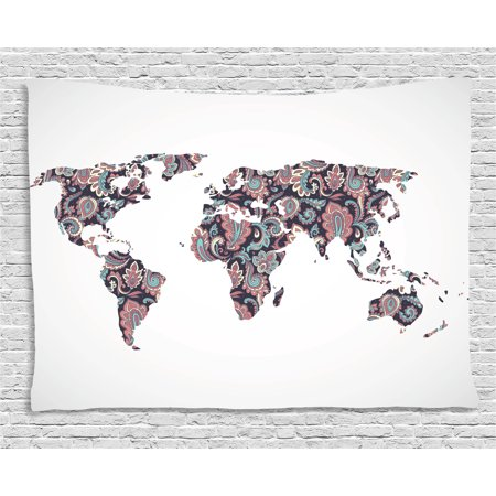 Chic Bedroom Decor (Modern Tapestry, World Map with Paisley Leaves Ornamental Middle Eastern Style Chic Design, Wall Hanging for Bedroom Living Room Dorm Decor, 60W X 40L Inches, Plum Coral Turquoise, by)