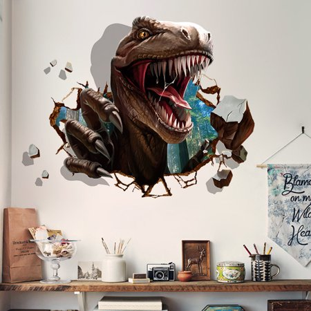 Outgeek Wall Stickers Waterproof Removable Creative 3D Dinosaur Raid Decorative Stickers Wall Decals Mural Stickers for Kids Room Bedroom Living Room TV Background Window Decor - Dinosaur Wall Decor