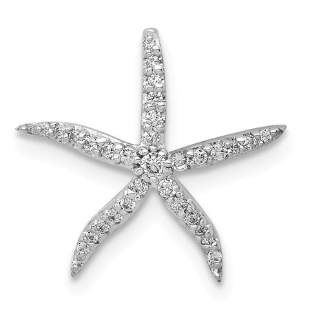 KIOKORI 14K White Gold Diamond Starfish Chain Slide Pendant 1/8-Carat (Diamond Pendant Chain Slide)
