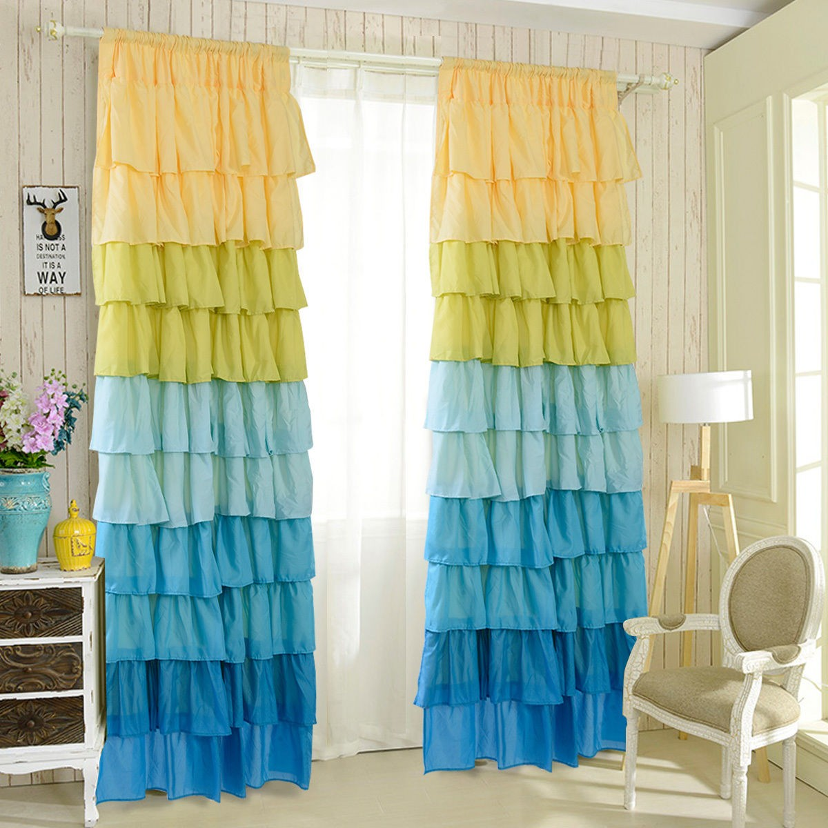 "54"" X 84"" Ruffle Sheer Curtain Panels Drapes Blue"