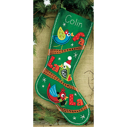 "Dimensions Fa La La Birds Stocking Felt Applique Kit, 19"" long"