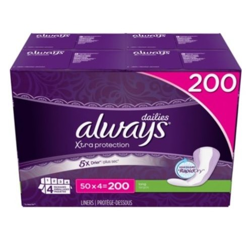 Always Pantiliner Xtra Protection Long Dailies Liners, 200 Count