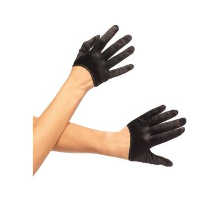 Mini Cropped Satin Gloves LA2137 - Black