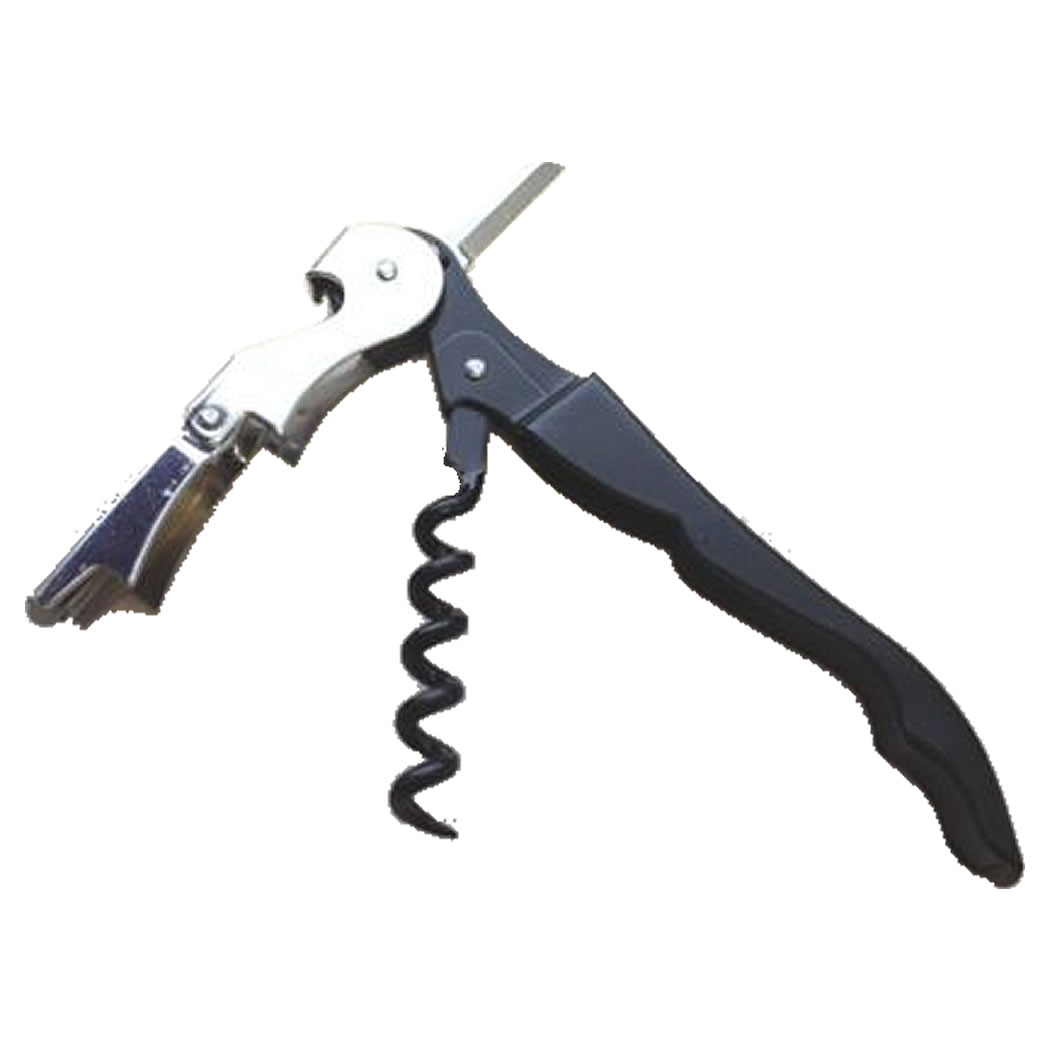 Black Double Hinged Teflon Corkscrew Opener by