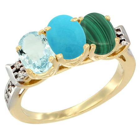 14K Yellow Gold Natural Aquamarine, Turquoise & Malachite Ring 3-Stone Oval 7x5 mm Diamond Accent, sizes 5 - (Turquoise Malachite)